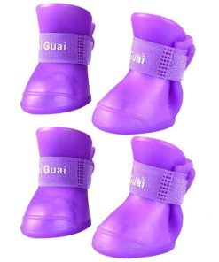 BUYITNOW Dog Rain Boots for Small Dog Waterproof Anti Slip Soft Soles Pet Shoes 4pcs