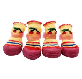 Elevin(TM)4Pcs Cute Fancy Dress Up Pet Dog Cat Chihuahua Winter Cotton Anti-slip Knit Weave Warm Sock Shoes for Small Dog