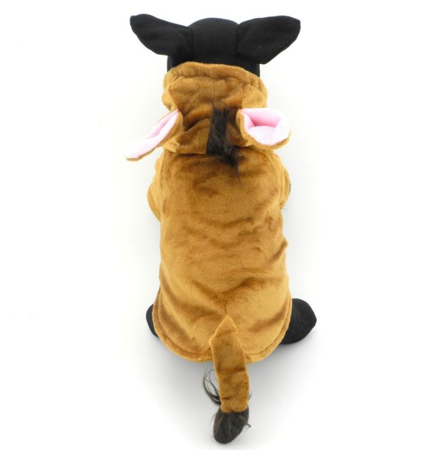 PETLOVE Pet Clothes Apparel for Small Dogs Cats Fleece Horse Costume with Hood Jacket Coat Halloween Clothing Brown