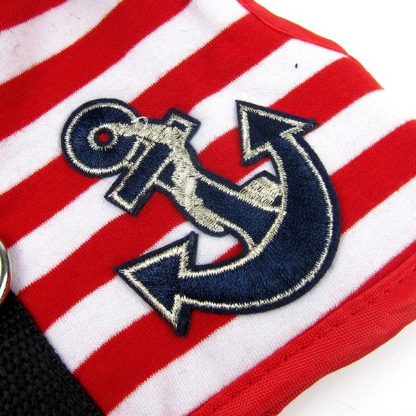 Alfie Pet by Petoga Couture - Dustin Sailor Harness and Leash Set - Colo- Red Stripe, Size - Small 2