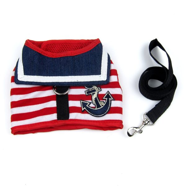 Alfie Pet by Petoga Couture - Dustin Sailor Harness and Leash Set - Colo- Red Stripe, Size - Small 4