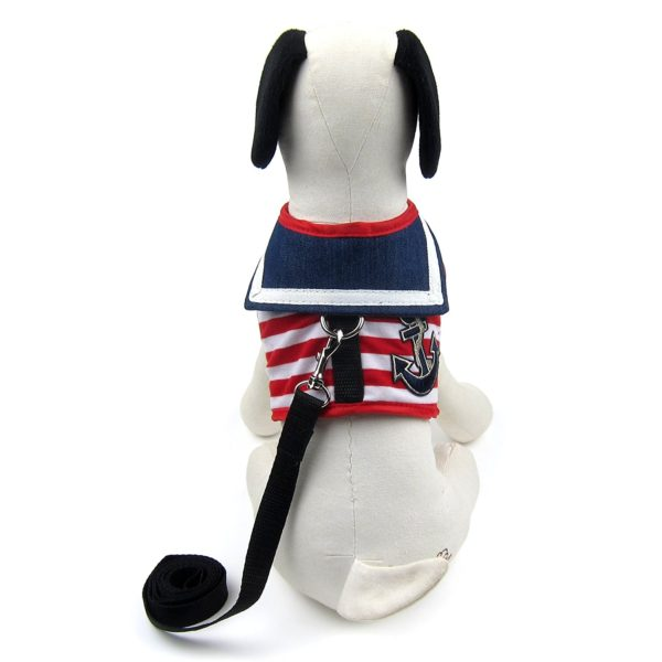 Alfie Pet by Petoga Couture - Dustin Sailor Harness and Leash Set - Colo- Red Stripe, Size - Small 9