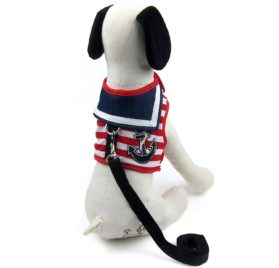 Alfie Pet by Petoga Couture - Dustin Sailor Harness and Leash Set - Color-Red Stripe, Size - Small