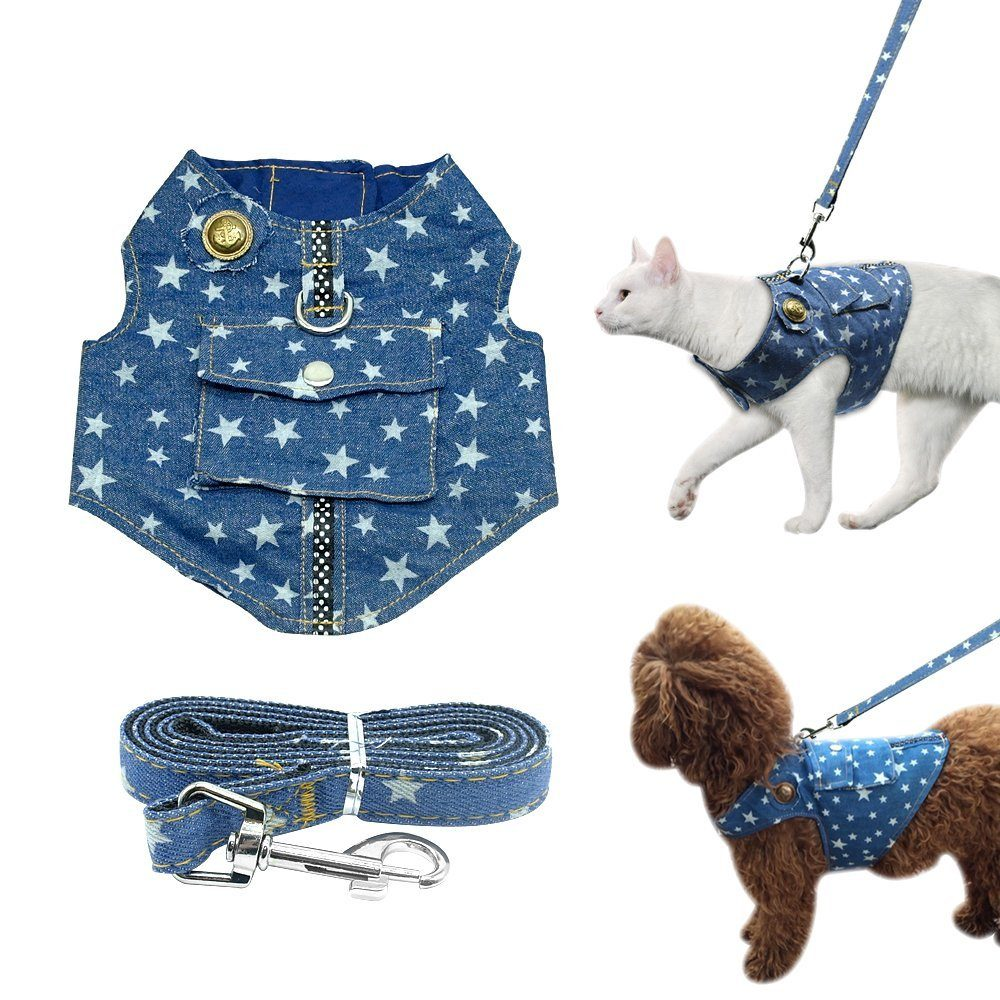 Beirui Denim Dog Harness Vest And Leash Set Soft Blue