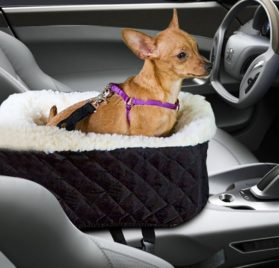 Center Console Pet Car Seats Meago Console Booster Dog seat Cashmere Cream Fur for Small Pets and Cats with Safety Belt (black)