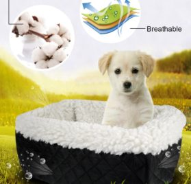 Center Console Pet Car Seats Meago Console Booster Dog seat Cashmere Cream Fur for Small Pets and Cats with Safety Belt (black) 5