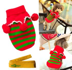 Christmas Dog Cat Pet Sweater Knitwear Outerwear with Collar and Balls for Cats & Dogs