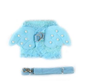 Cute Dog Angel Costume Vest Small Dog Cat Harness Vest Lead Leash Chihuahua Dog Pet Cat Luxury Pearl Collar Leads For Cat 2