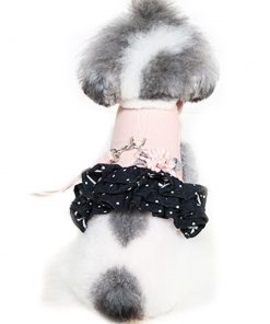 Cute Flower Small Pet Cat Dog Harness Vest And Leash Breathable Mesh Chihuahua Dog Puppy Collar Leads Dog Dress Skirt Jacket Clothes (S(bust11.4-14.1inch), Pink)