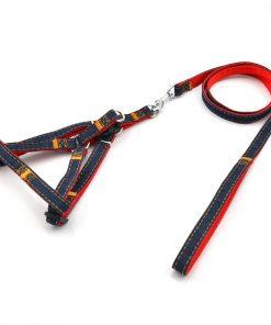 CuteBone Adjustable Dog Leash Harness - Collar Set Heavy Duty Denim Harness Leash Set for Large Medium Small Dog's Training & Everyday Walking GS01