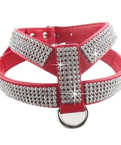 DOGGYZSTYLE Bling Rhinestone PU Leather Pet Puppy Small Dog Collar Harness Leash Chihuahua Teacup Care for Girls & Boys b(Red,XS)