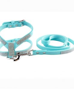 DOGGYZSTYLE Dog Harness Bling Rhinestone Korea Suede Pet Puppy Small Dogs Vest Collar Leash Set For Chihuahua Teacup Cat