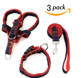 Dog Leash Harness Collar 3pcs Adjustable Denim Harness Heavy Duty Nylon Leash Collar for Large Medium Small Dog,Perfect for Daily Training Walking Running