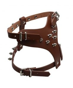 """Dogs Kingdom 13.5""""-17"""" Chest Genuine Leather Spiked Studded Pet Puppy Dog Harness Adjustable Small Dog Chihuahua Harness"""