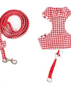 New Red Houndstooth Dog Harness And Lead Set For Chihuahua and Puppy 5 Size