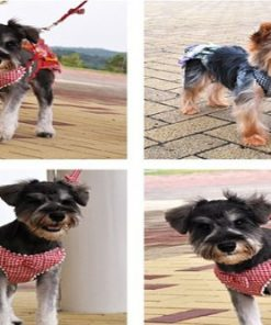 New Red Houndstooth Dog Harness And Lead Set For Chihuahua and Puppy 5 Size 7