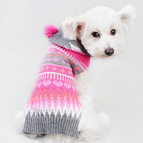 Ollypet Christmas Dog Sweater Chihuahua Clothes Knit For Girl Pink