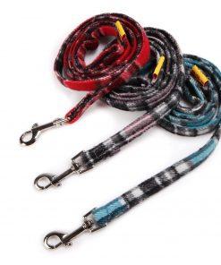 SCT Dog Winter Woolen Plush Grid Vest Leash Set 6