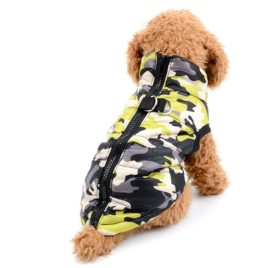 SELMAI Camo Small Dog Cat Winter Coat Vest Jacket Padded Pet Puppy Camouflage Costume with Harness Doggie Chihuahua Cold Weather Clothes Apparel