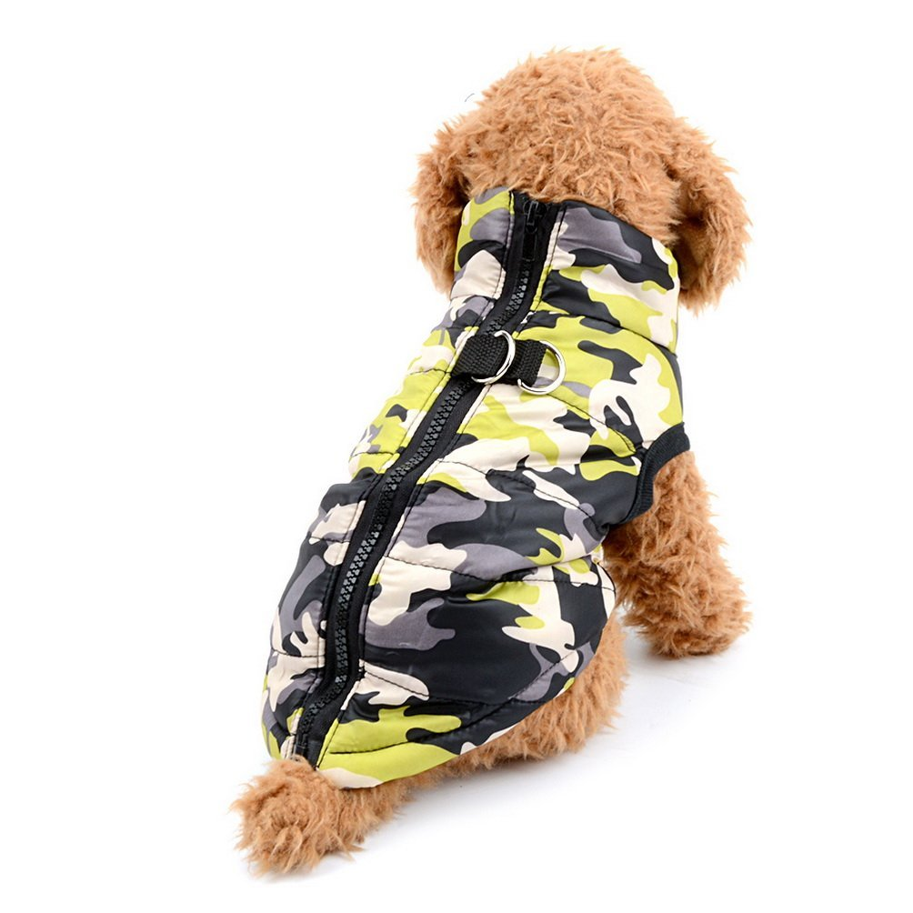 Selmai Camo Small Dog Cat Winter Coat Vest Jacket Padded Pet