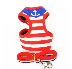 Strip Small Pet Cat Dog Puppy Harness Vest And Leash Cute Animal Chihuahua Dog Collars Leads Dog Sailor Costume Clothes