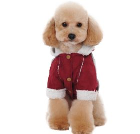Albabara British Style Cozy Dog Winter Coat Pet Hooded Clothes Snowsuit Apparel Cold Weather Warm Faux Suede Shearling Fabric Dog Jacket for Small Medium Dogs 7
