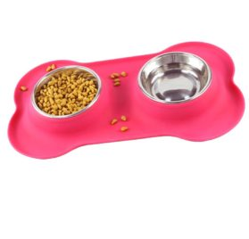 BUYITNOW Stainless Steel Dog Bowl with No Spill Bone Silicone Mat Removable Double Pet Feeding Bowls, 24 Oz