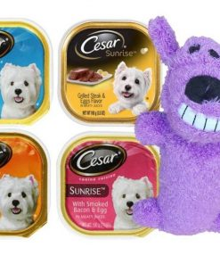 Cesar Sunrise Dog Food 4 Flavor 8 Can with Toy Bundle