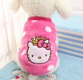 Chicpaw Puppy Pet Vest Small Dog Cat Clothes Shirt Coral Velvet Cartoon Coat Pet Chihuahua Apparel Costume 3