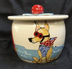 Chihuahua Treat Jar. Personalized at no Charge. Signed by Artist, Debby Carman. 3