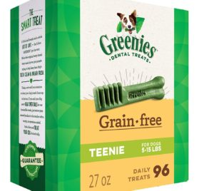 GREENIES Grain Free Dental Dog Chews, Teenie, 96 Treats, 27 Ounces; Grain Free Dental Dog Treats For Clean Teeth and Healthy Gums