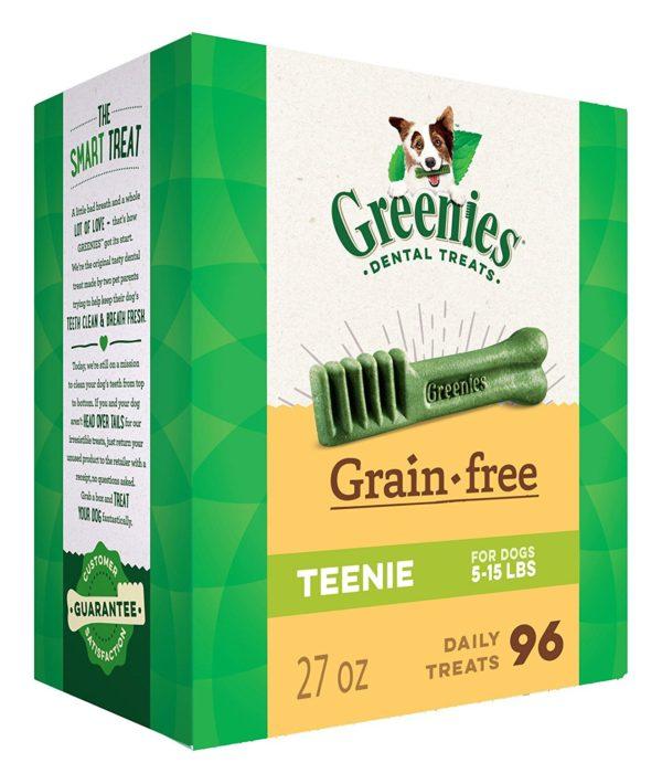 GREENIES Grain Free Dental Dog Chews, Teenie, 96 Treats, 27 Ounces; Grain Free Dental Dog Treats For Clean Teeth and Healthy Gums