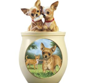 Linda Picken Chihuahua Art Ceramic Cookie Jar With Sculpted Chihuahuas On Lid by The Bradford Exchange