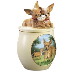 Linda Picken Chihuahua Art Ceramic Cookie Jar With Sculpted Chihuahuas On Lid by The Bradford Exchange 5