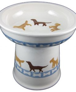 Polish Pottery Set of 2 Raised Small Dog Dry Food Dishes in Dog Walk and Dog Bones 2