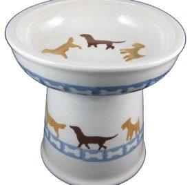 Polish Pottery Set of 2 Raised Small Dog Dry Food Dishes in Dog Walk and Dog Bones 2