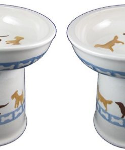 Polish Pottery Set of 2 Raised Small Dog Dry Food Dishes in Dog Walk and Dog Bones