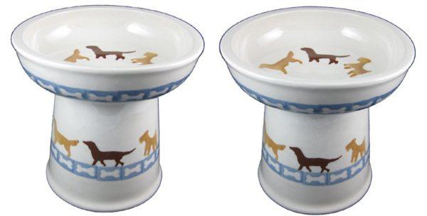 Polish Pottery Set of 2 Raised Small Dog Dry Food Dishes in Dog Walk and Dog Bones