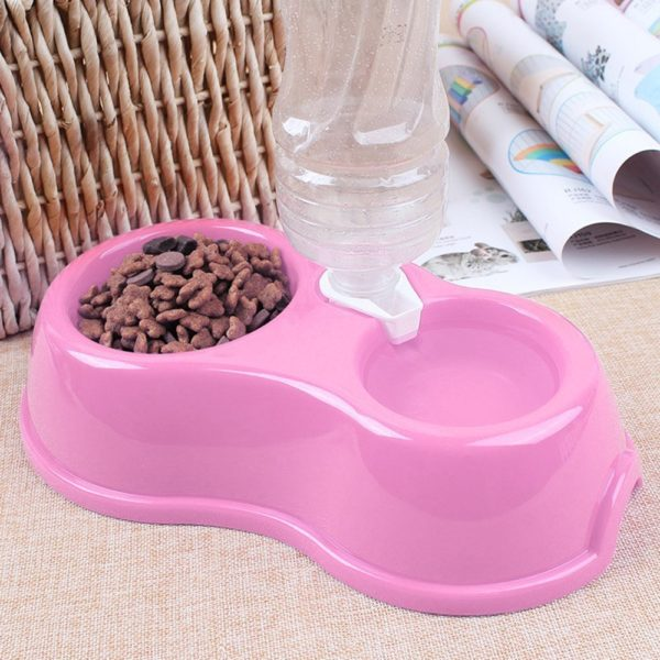 Quno Plastic Portable Puppy Dog Cat Automatic Drinking Water Food Feeder Double Pet Bowl 2