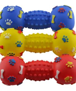 DogLoveit Rubber Vinyl Dumbbell Squeaky Dog Toy, Large, Assorted Colors, 7.5-Inch 2