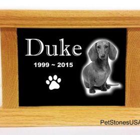 Pet Cremation Urn Oak Wood Box Photo Memorial Granite Any Animal Personalized Personalised Chihuahua Dalmatian 2