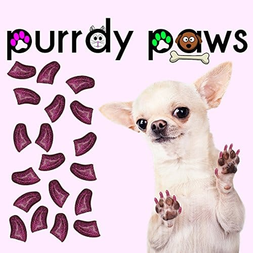 40-Pack Soft Nail Caps For Dogs Claws ROYAL PINK GLITTER Purrdy Paws