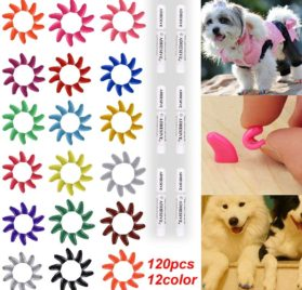 120Pcs(12Color) Dog Claw Caps Soft Rubber Pet Paws Nail Grooming Cover + 6 Adhesive Glue
