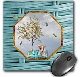 3dRose Mouse Pad Chihuahua, Pillow, Dragonflies, White Tree, Hexagon Design, Aqua Blue, 8 x 8 (mp_262898_1)
