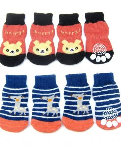 Alfie Pet by Petoga Couture - Gari 2 Set of 4 Dog Paw Protection Indoor Socks - Color- Navy Stripe and Red, Size- Small 2
