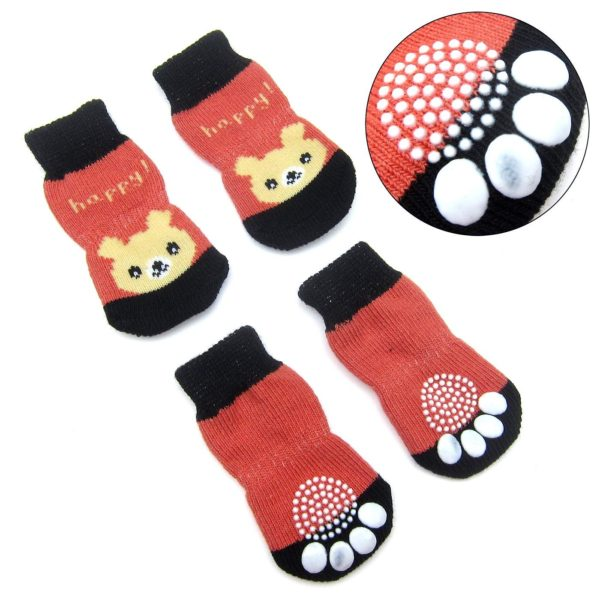 Alfie Pet by Petoga Couture - Gari 2 Set of 4 Dog Paw Protection Indoor Socks - Color- Navy Stripe and Red, Size- Small 3