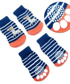 Alfie Pet by Petoga Couture - Gari 2 Set of 4 Dog Paw Protection Indoor Socks - Color- Navy Stripe and Red, Size- Small 4