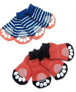 Alfie Pet by Petoga Couture - Gari 2 Set of 4 Dog Paw Protection Indoor Socks - Color- Navy Stripe and Red, Size- Small 5