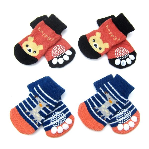 Alfie Pet by Petoga Couture - Gari 2 Set of 4 Dog Paw Protection Indoor Socks - Color- Navy Stripe and Red, Size- Small