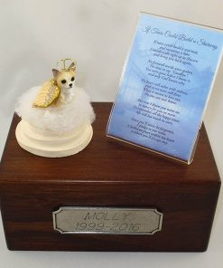 Beautiful Paulownia Small Wooden Urn with Tan & White Chihuahua Stairway to Heaven Figurine with Poem & Personalized Pewter Engraving
